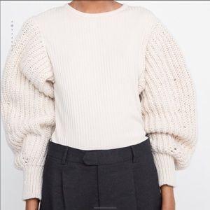 New ZARA puffy sleeve knit sweater